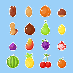 Fruits and nuts sticker. Colorful farm fruits isolated icon. Healthy vegetarian patch illustration. Happy food sticker, big collection. Nut, grape, cherry. Lemon icon.