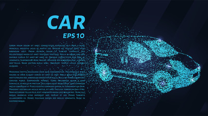 Car from the particles. Car crumbles into small dots and circles