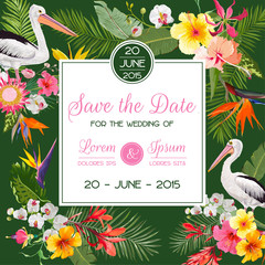 Save the Date Card with Exotic Flowers and Birds. Floral Wedding Invitation Template with Pelicans. Tropical Postcard. Vector illustration