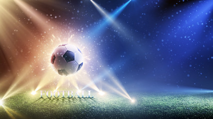 Background of a football cup 2018. World Championship background soccer. Element for design. Invitations, gift cards, flyers, brochures. Panorama