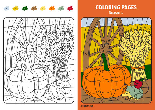 Seasons coloring page for kids, september month