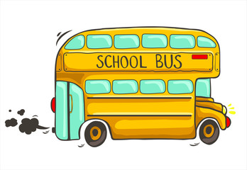 hand drawn yellow school bus with black smoke on a white background - vector illustration