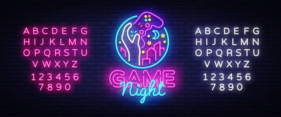 Game Night neon sign logo design template. Game night logo in neon style, gamepad in hand, video game concept, modern trend design, light banner, bright advertisement. Vector. Editing text neon sign