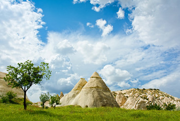 Love valley in Cappadocia, Anatolia, Turkey. Volcanic mountains in Goreme national park.