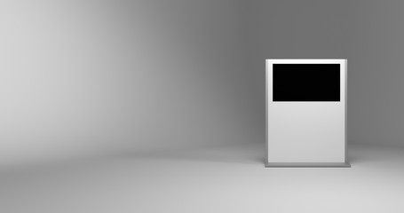 Blank display, original design, 3d rendering with copy space and blank surfaces