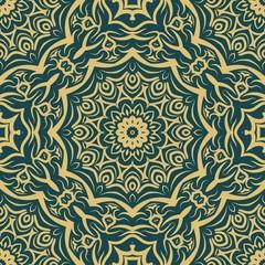 vector illustration. pattern with floral mandala, decorative border. design for print fabric, bandana
