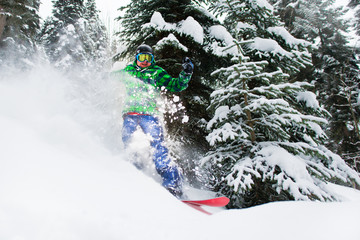 joyful male snowboarder rides in forest creating a spray of snow