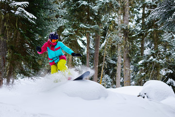 girl snowboarder rides freeride on powder snow in forest