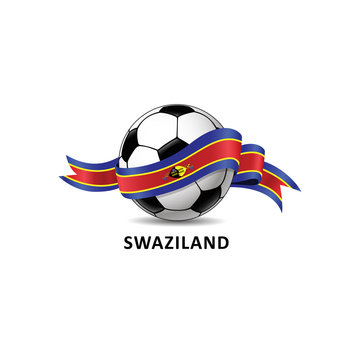 Football ball with swaziland flag colorful trail. Vector illustration design for soccer football championship, tournaments, games. Element for invitations, flyers, posters, cards, webdesign