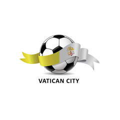 Football ball with vatican city flag colorful trail. Vector illustration design for soccer football championship, tournaments, games. Element for invitations, flyers, posters, cards, webdesign