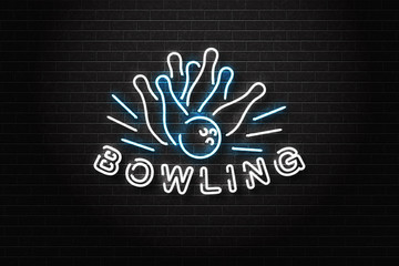 Vector realistic isolated neon sign for bowling for decoration and covering on the wall background. Concept of game sport and bowling club.