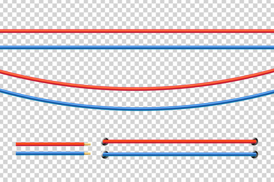Vector realistic isolated red and blue electrical cable for decoration and covering on the transparent background. Concept of flexible network wires, electronics and connection.
