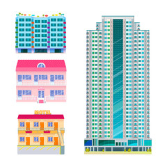 Hotels buildings tourist travelers places vacation time apartment urban town facade vector illustration.