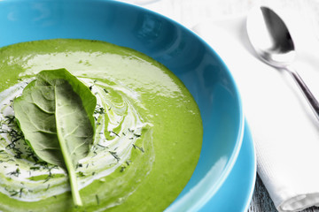 Delicious spinach soup in plate, close up