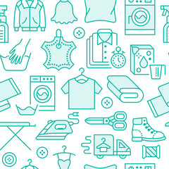 Dry cleaning, laundry blue seamless pattern with line icons. Laundromat service equipment, washing machine, clothing shoe and leaher repair, garment ironing and steaming. Background for launderette.