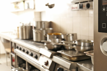 Blurred view of restaurant kitchen