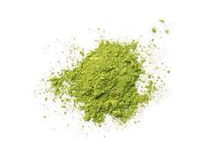 Pile of powdered matcha tea on white background, top view
