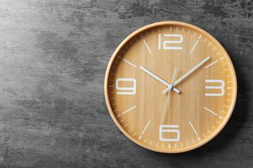 Modern clock on grey background, top view. Time management Fototapete