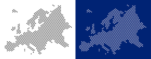 Dotted Europe map. Vector geographic map on white and blue backgrounds. Vector concept of Europe map constructed of round points.