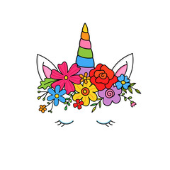 Sweet colorful unicorn vector hand drawn illustration with flower crown, magical rainbow horn, ears, closed eyes with eyelashes, isolated on white.