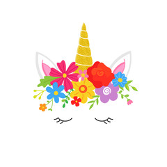 Sweet colorful unicorn vector hand drawn illustration with flower crown, magical glitter gold horn, ears, closed eyes with eyelashes, isolated on white.
