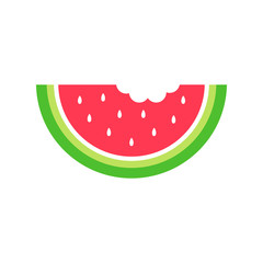Summer watermelon vector graphic icon for web, logo and other designs. Juicy red watermelon with white seeds.