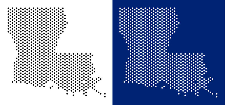 Pixel Louisiana State map. Vector geographic map on white and blue backgrounds. Vector mosaic of Louisiana State map composed with sphere dots.
