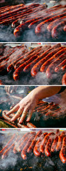 Grilled sausage on barbecue, grill. Shallow depth of field.Collage of set photos.