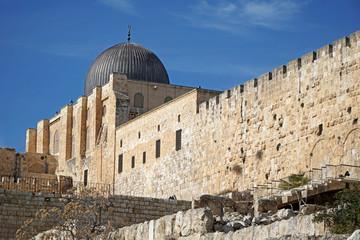 Al Aqsa mosque, Jerusalem, fron outside the city walls
