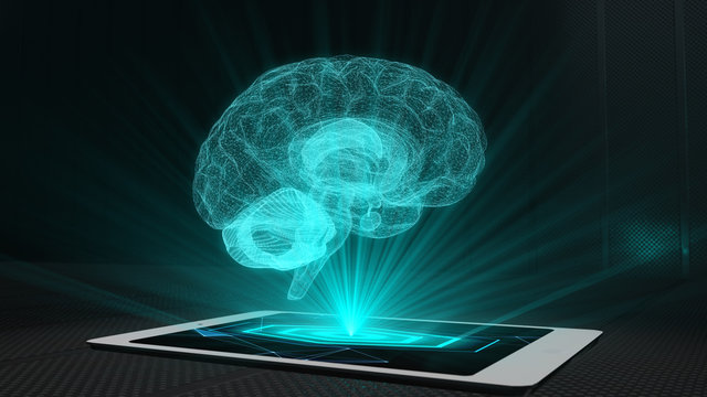 Brain projection futuristic holographic display phone tablet hologram technology
