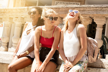 Group of smiling beautiful girls on summer vacation.