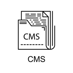 cms icon. Element of web development signs with name for mobile concept and web apps. Detailed cms icon can be used for web and mobile