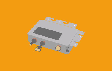 Mini inverter vector in flat design isolated in orange background - Solar Energy Equipment Concept Image