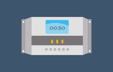 Solar Charge Controller in flat design - Solar Energy Equipment Concept Image
