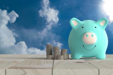 piggy bank blue color