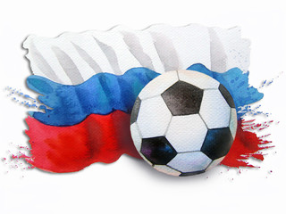 Soccer ball - Hand drawn Watercolor painting