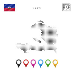 Vector Dotted Map of Haiti. Simple Silhouette of Haiti. The National Flag of Haiti. Set of Multicolored Map Markers