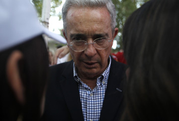 Former Colombian President Uribe and friends react after right wing candidate Duque won the presidential election in Medellin