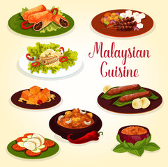 Malaysian cuisine icon with exotic food ingredient