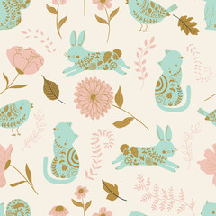 in the garden vector seamless pattern. Kids background with cute animals, birds and flowers