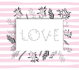 love word with handmade font and floral decoration vector illustration design
