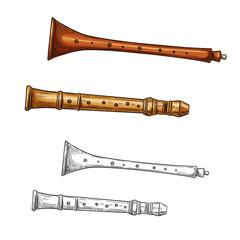 Wooden flute folk musical instrument sketch