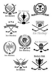Ice hockey sport game isolated icon set design