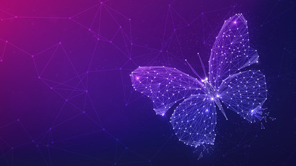 Polygon butterfly on blockchain technology network hud background. Abstract polygonal geometric butterfly consisting of points, lines and shapes. Wireframe technology structure. Low poly design.