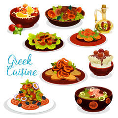 Greek cuisine icon of seafood lunch with dessert