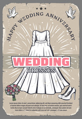 Wedding anniversary vintage greeting card template