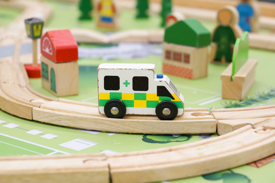 Wooden ambulance toy for kids