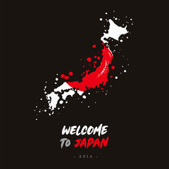 Welcome to Japan. Flag and map of the country