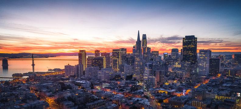 Panorama of the San Francisco skyline with brilliant sunrise
