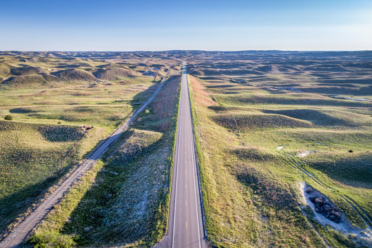 highway in Nebraska Sandhills - aerial view